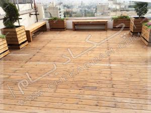 کف پوش چوبی ترمووود دکینگ چوبی پشت بام پروژه روف گاردن جردن تهران