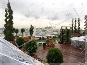 نمای روف گاردن جردن تهران چمن مصنوعی فلاورباکس چوبی ترمووود