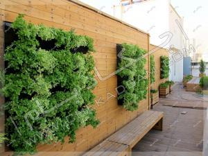 دیوار سبز مدولار و دیوارکوب چوبی ترمووود