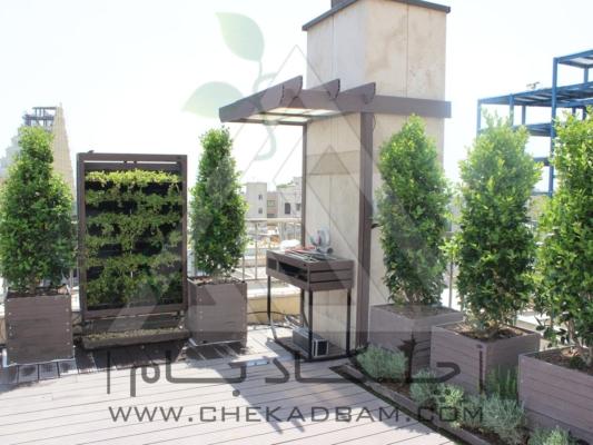 طراحی و اجرای بام سبز روف گاردن کامرانیه، باربیکیو، فلاورباکس، تری باکس، یونیت گلدان، پرگولا،چوب پلاست