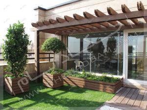 پرگولا و فلاورباکس مناسب کاشت گیاهان روی پشت بام