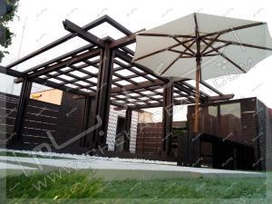 پرگولا و چتر آفتابگیر روی پشت بام پروژه روف گاردن سعادت آباد تهران