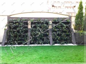 دیوار سبز مدولار و دیوار چوبی و چمن مصنوعی روف گاردن سعادت آباد ساختمان بانک تجارتی ایران و اروپا