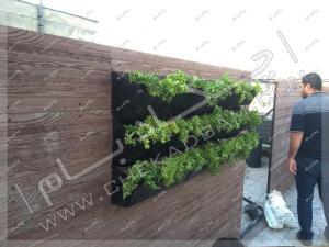 اجرای روف گاردن و پوشش دیوار پشت بام با چوب پلاستیک و دیوار سبز