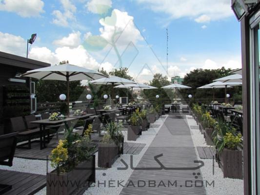 رستوران بام-آتریوم چوب پلاست-روف گاردن-بام سبز-دیوار سبز-آلاچیق-پرگولا