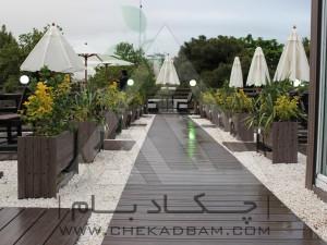 روف گاردن-بام سبز-چوب پلاست-نردبان چوبی-آلاچیق-فلاورباکس-دیوار سبز-مدولار-نمای چوبی-میز و نیمکت-سینی پوششی-سایه بان آفتابی-فلاورباکس-گلدان-درختچه