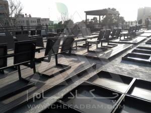 مراحل اجرا-روف گاردن-بام سبز-چوب پلاست-نردبان چوبی-آلاچیق-فلاورباکس-دیوار سبز-مدولار-نمای چوبی-میز و نیمکت-سینی پوششی