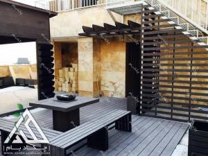 طراحی و اجرای بام سبز در محله دیباجی جنوبی تهران میز و نیمکت محوطه پرگولا و کاور دک چوب پلاست