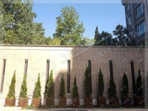 فلاورباکس های چوبی و ترموود و درختچه های لاوسون در حیاط ساختمان ونک تهران