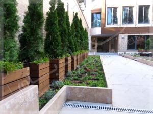 روف گاردن باغچه روی سقف پارکینگ فضای سبز حیاط درخت فلاورباکس چوبی ونک تهران