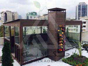 اجرای آتریوم شیشه ای چوب پلاست روف گاردن بام سبز  شیشه ریلی آکاردئونی