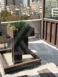 روف گاردن-بام سبز-آتریوم-چوب پلاست-ترموود-وود پلاست- گل-درختچه-فلاورباکس-شیشه سکوریت-آبنما