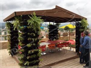 آلاچیق چوبی تراس سبز مجتمع تجاری اکسین شمال آمل